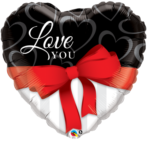 Love You Heart Satin Ribbon Balloon (90cm)
