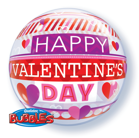 Valentines Striped Patterns Bubble Balloon