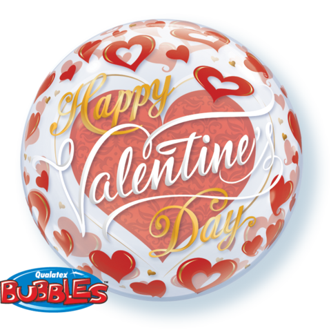 Valentines Red Hearts Bubble Balloon
