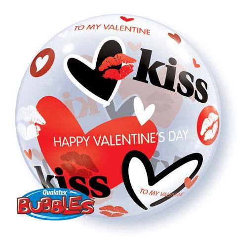 Valentines Kisses and Hearts Bubble Balloon