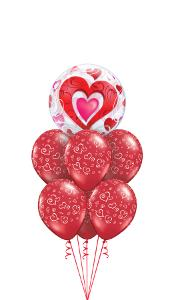 Red Heart Filigree Balloon Gift