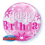 Birthday Pink Sparkle Starburst Bubble Balloon