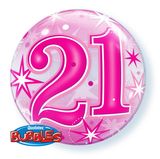 21 Pink Sparkle Starburst Bubble Balloon