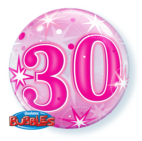 30 Pink Sparkle Starburst Bubble Balloon