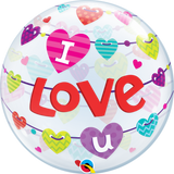 I Love You Banner Hearts Bubble Balloons