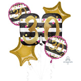 30th Pink & Gold Balloon Bouquet