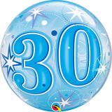 30 Blue Sparkle Starburst Bubble Balloon