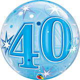 40 Blue Sparkle Starburst Bubble Balloon