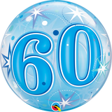 60 Blue Sparkle Starburst Bubble Balloon