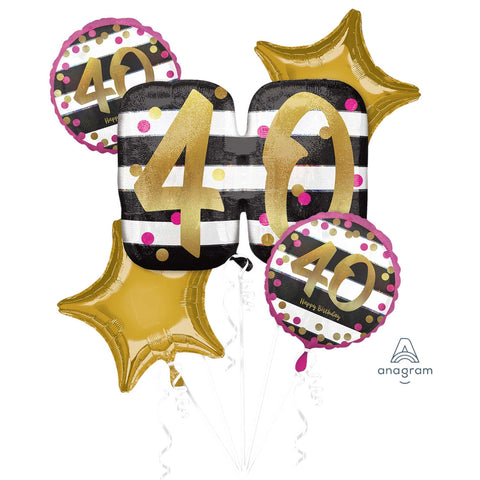 40th Pink & Gold Balloon Gift