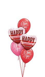 Happy Valentines Day Hearts with I love you Balloon Gift