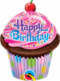 Happy Birthday Frosted Cupcake Shape Balloon