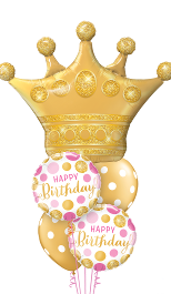 Gold Princess Crown Birthday  Balloon Gift