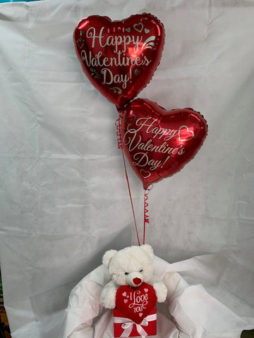 Valentines Day Balloons & Teddy in a box