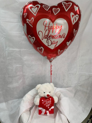 Large Happy Valentines Day Balloon and Teddy Gift Box