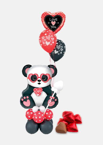Panda I Love You Sculpture Arrangement with Chocolates