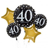 Black & Gold 40 Birthday Balloon Gift