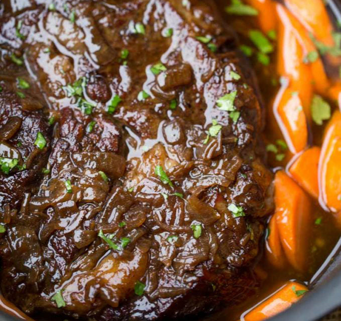 Maple Dijon Pot Roast with Carrots