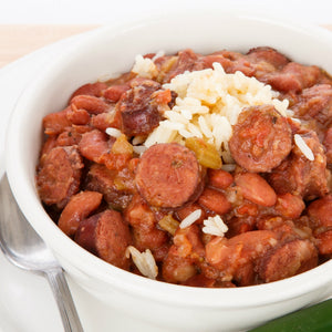Cajun Style Red Beans & Rice with Smoked Andouille Sausage