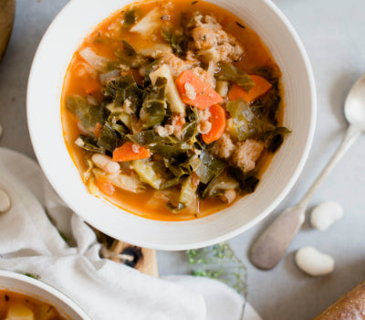 Sweet Italian Chicken Sausage Stew with White Beans & Kale