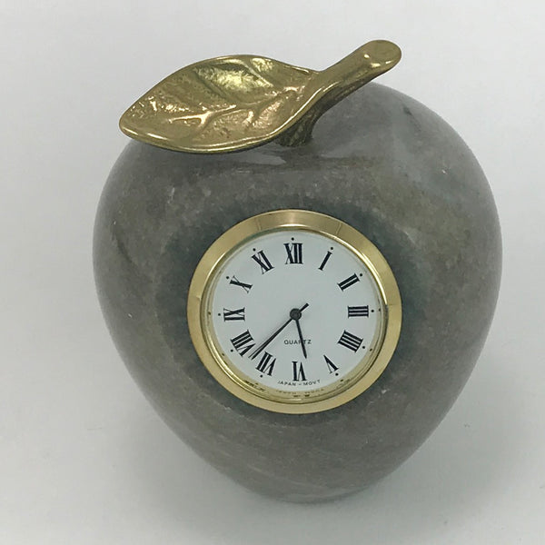 MARBLE ALABASTER Apple PAPERWEIGHT CLOCK Brass Stem Polished Stone - Blue Plum Collections