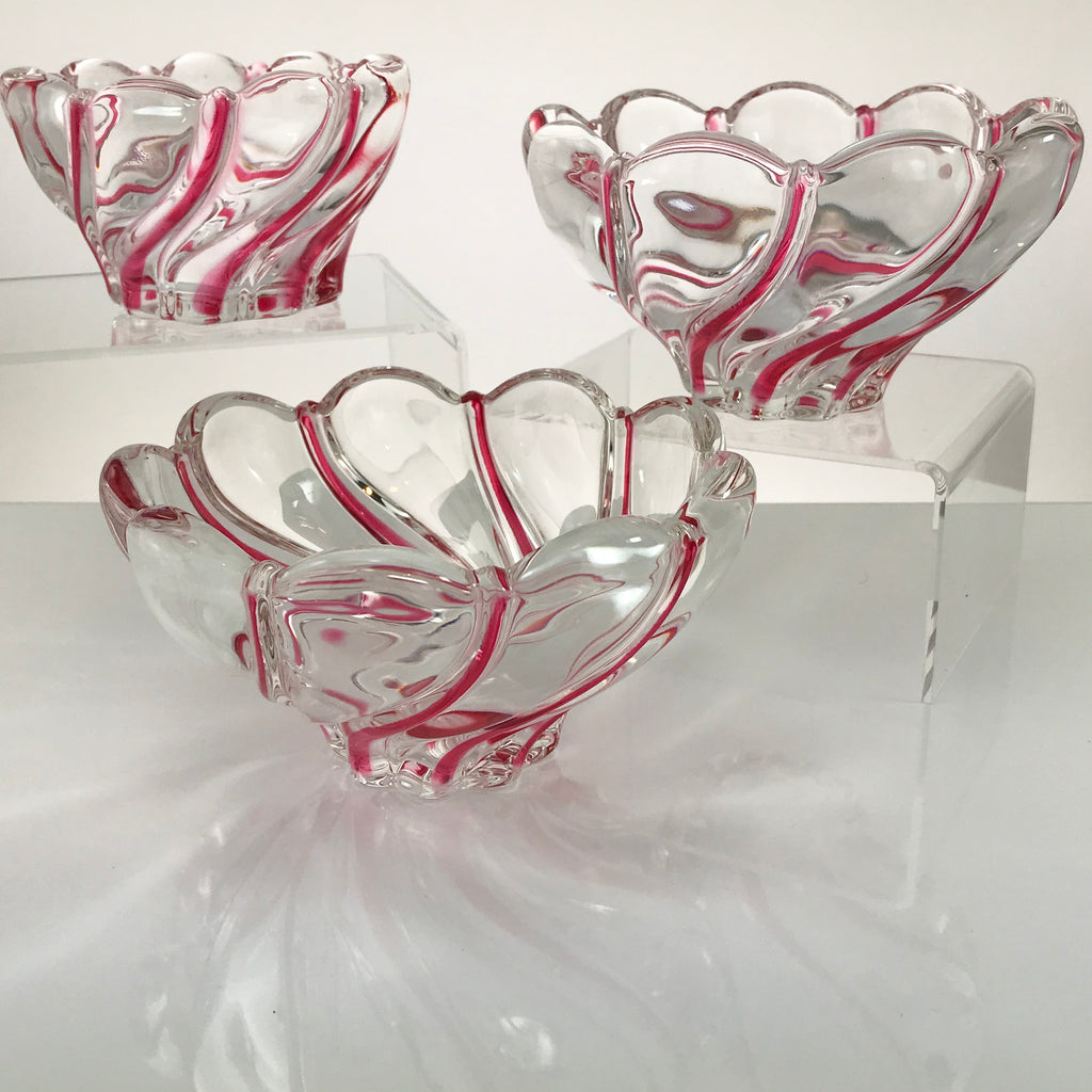 Mikasa Crystal Red Peppermint Swirl Bowl Trio - Blue Plum Collections
