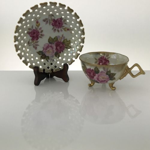 VINTAGE Lefton China Pink Floral Gold Trim Handpainted Teacup Saucer Opalescent - Blue Plum Collections