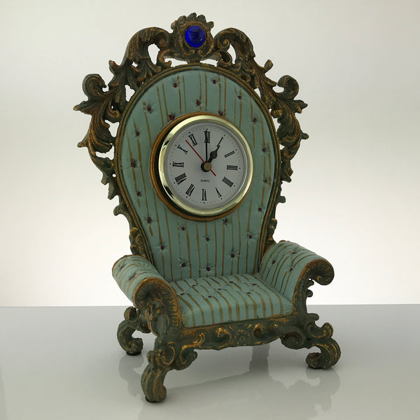 MILSON & LOUIS Hand Painted CLOCK Decor Colorful Chair WORKS Battery Included - Blue Plum Collections