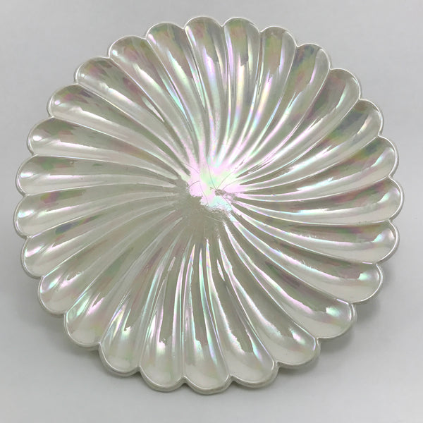 Opalescent Pearl White Vintage Serving Plate with Scalloped Edge - Blue Plum Collections