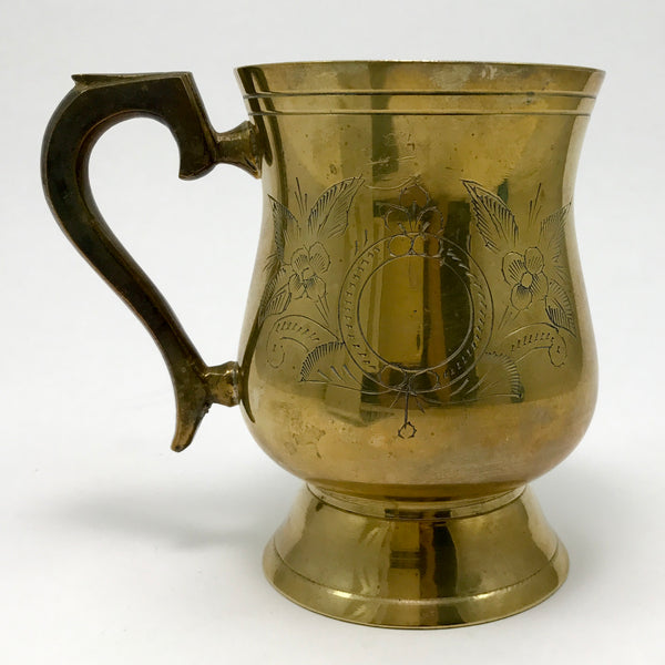 Brass Vintage Tankard with Engraved Design - Blue Plum Collections