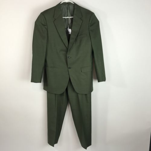 CUSTOM Men's SUIT Olive GREEN Japanese Tailored Japan Pants 34 Jacket 41 L Long - Blue Plum Collections