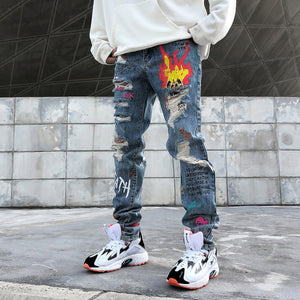 FIRE graffiti jeans