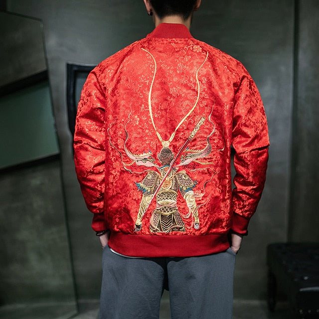 Vibrant monkey king bomber jacket