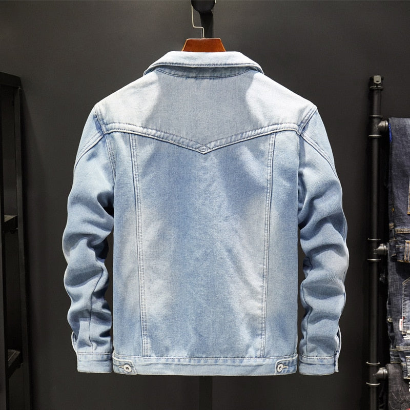 Fleece lining vintage denim jacket