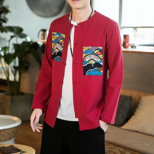 Oriental fan design Tang jacket
