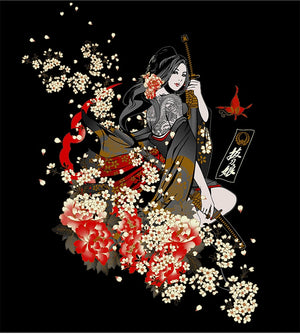 Japanese style warrior beauty T-shirt