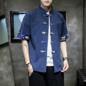 Dragon accent Tang short sleeve shirt