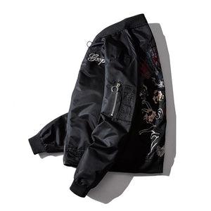 Dragon fiery tiger roar bomber jacket