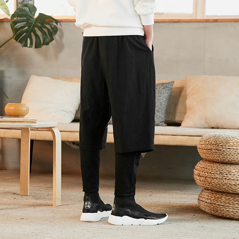 Two layer flying crane harem pants