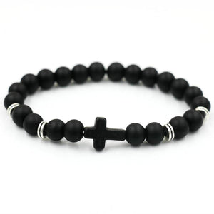 Cross design bead stone bracelet