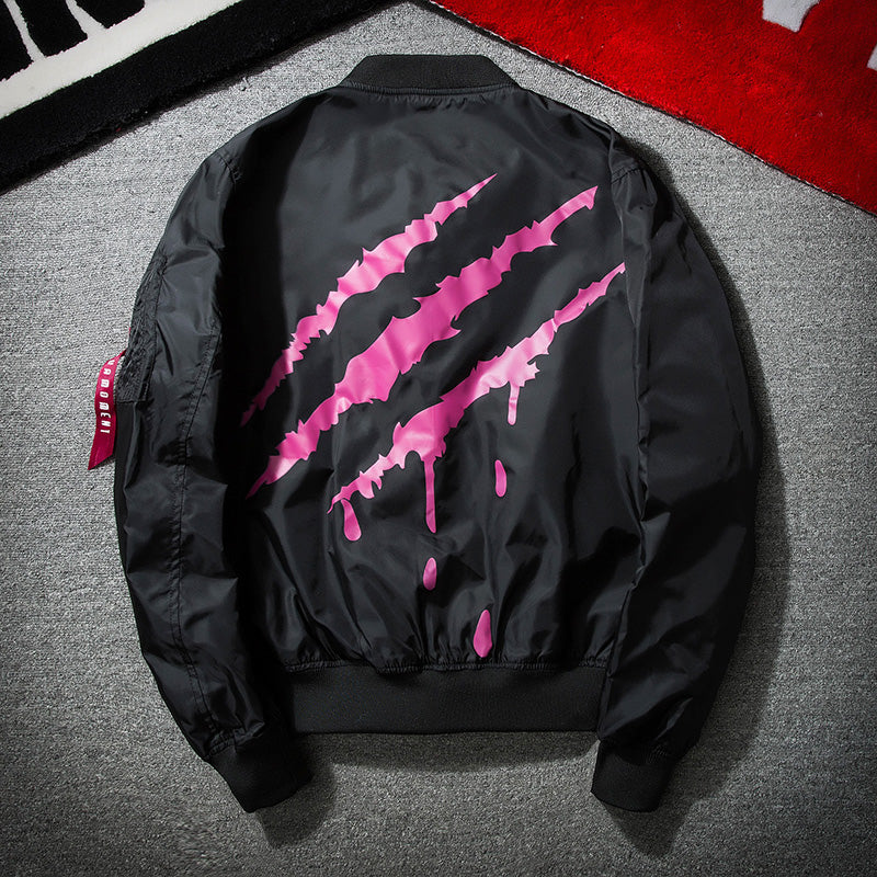 Urban scratch design bomber jacket
