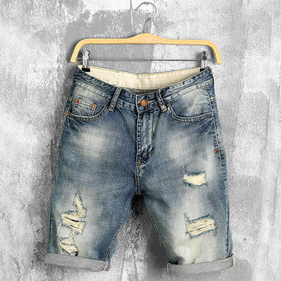 Men's urban destroyed ripped jean shorts
