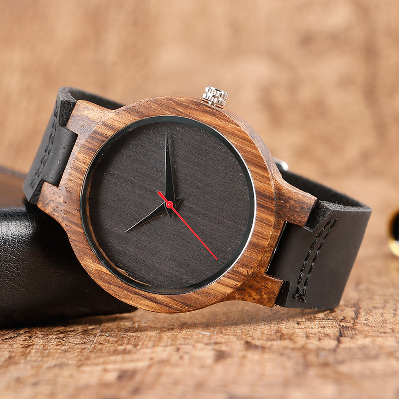 Wooden analog watch red hand