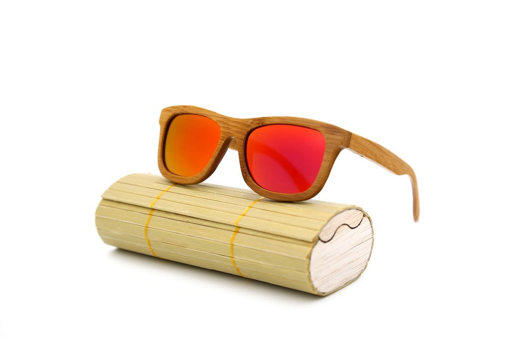 Polarized vintage wooden framed sunglasses unisex