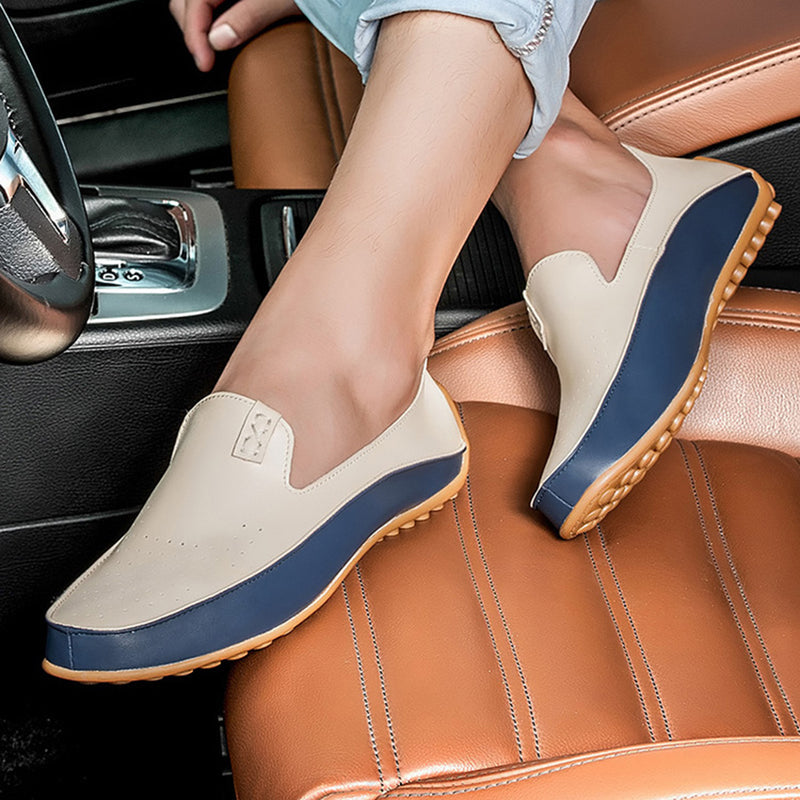 Men's leather loafers blue/beige