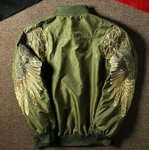 Embroidery eagle wing bomber jacket