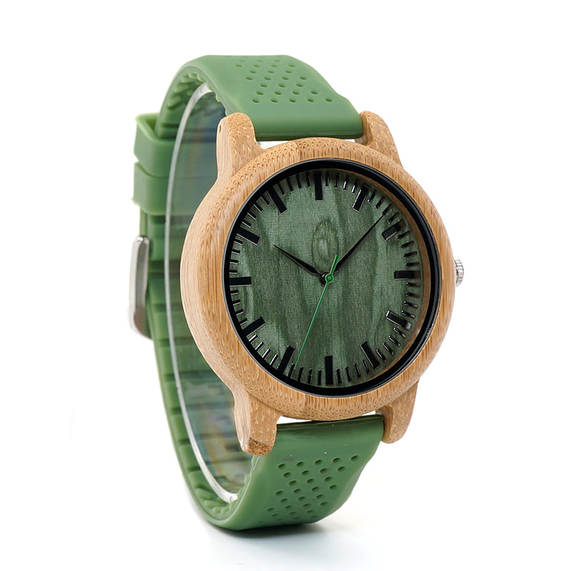Wooden analog watch green strap