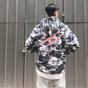 Camo hoodie with animal scratch design