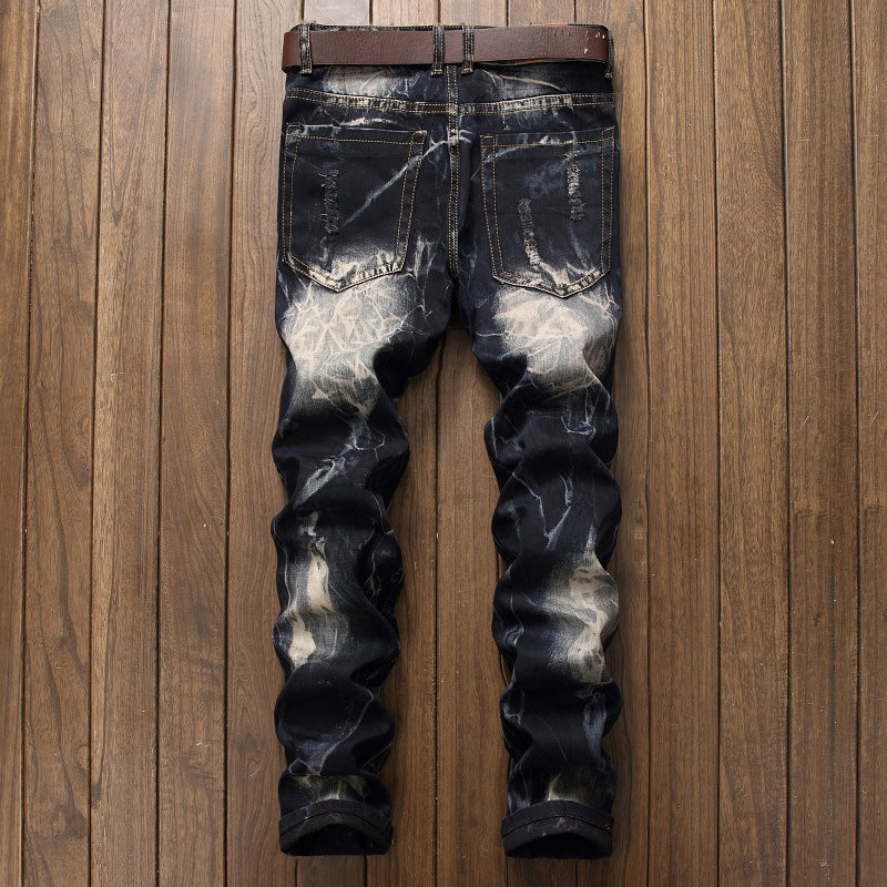 Bleach Ripped embroidery designer denim jeans