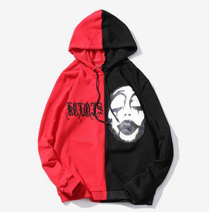 2 color Gothic face pullover hoodie